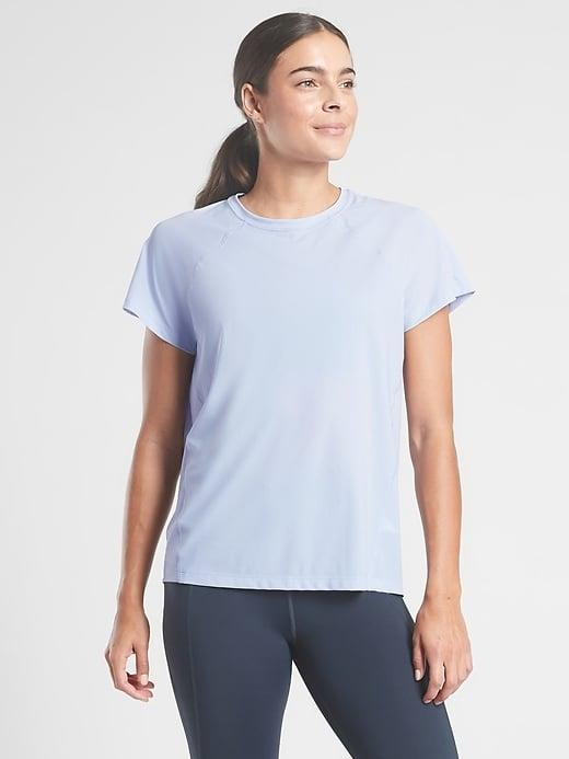 <p>This top-rated <span>Athleta Ultimate Train Tee</span> ($30-$48, originally $59) can work for practically any workout you dream up.</p>