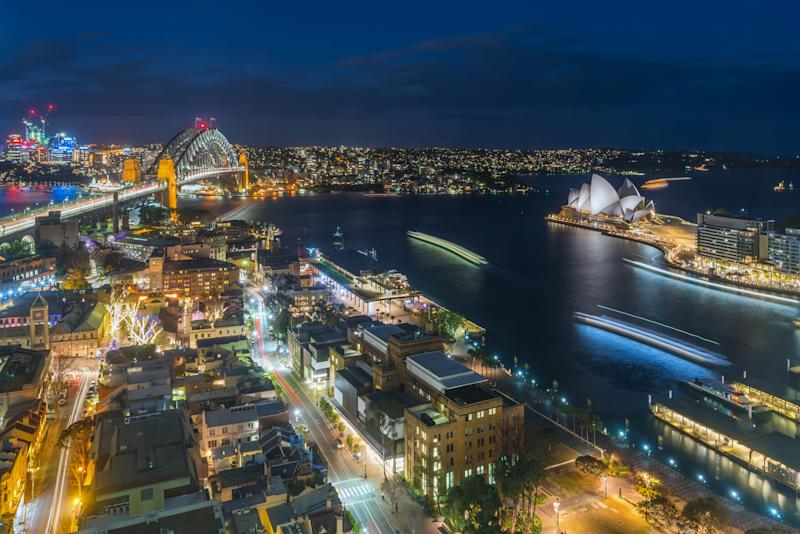Sydney's skyline at night. Businesses are urging the NSW Government for more direction in setting policy around reviving Sydney's night life. (Source: Getty)