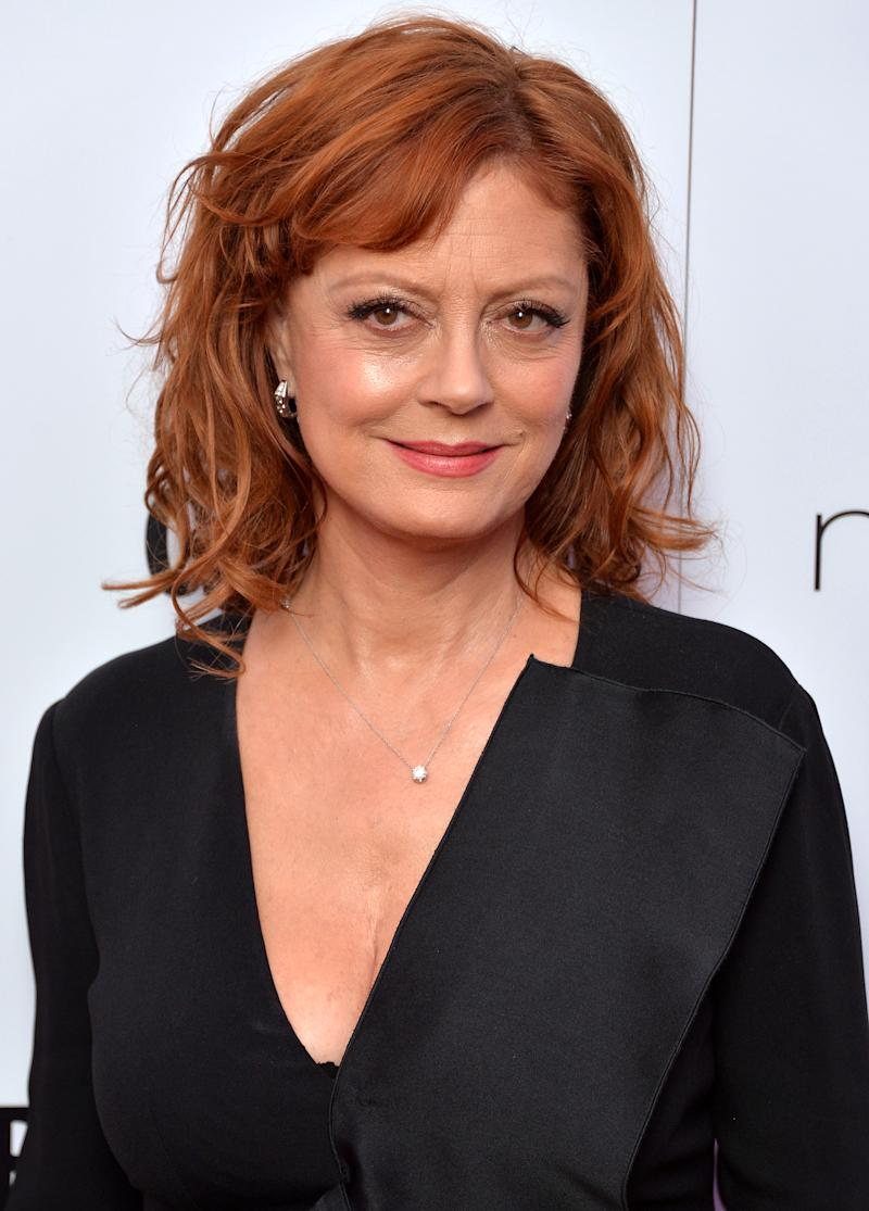 A photo of Susan Sarandon wearing a black dress at the Glamour Women Of The Year Awards at Berkeley Square Gardens on June 7, 2016 in London, England.