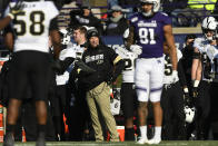 Purdue head coach Jeff Brohm looks on during the second half of an NCAA college football game against Northwestern, Saturday, Nov. 9, 2019, in Evanston, Ill. Purdue won 24-22. (AP Photo/Paul Beaty)