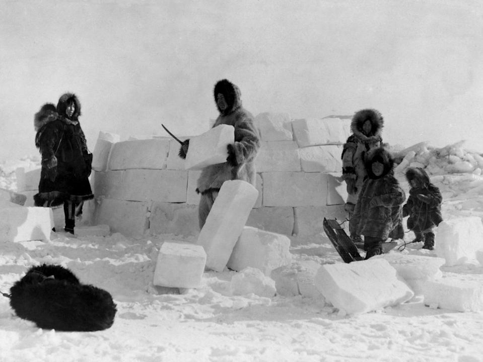 In frozen and other harsh environments where resources are sparse, traditional indigenous people had to innovate – whether by using ice to make buildings or using fish skin to make the leather, intestines to make sails or animal tusks to make harpoons (Wikimedia Commons)