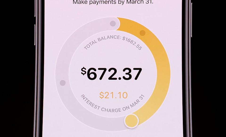 The Card app will have a field that shows users how much interest will be charged depending on the payment.