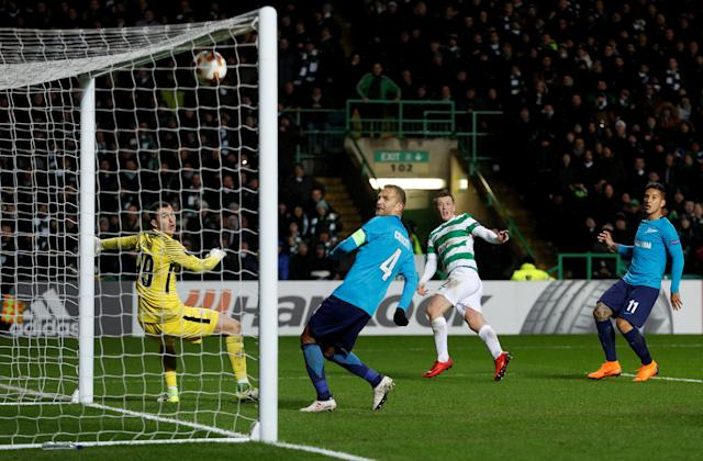 Soccer Football - Europa League Round of 32 First Leg - Celtic vs Zenit Saint Petersburg - Celtic Park, Glasgow, Britain - February 15, 2018 Celtic's Callum McGregor scores their first goal Action Images via Reuters/Lee Smith TPX IMAGES OF THE DAY
