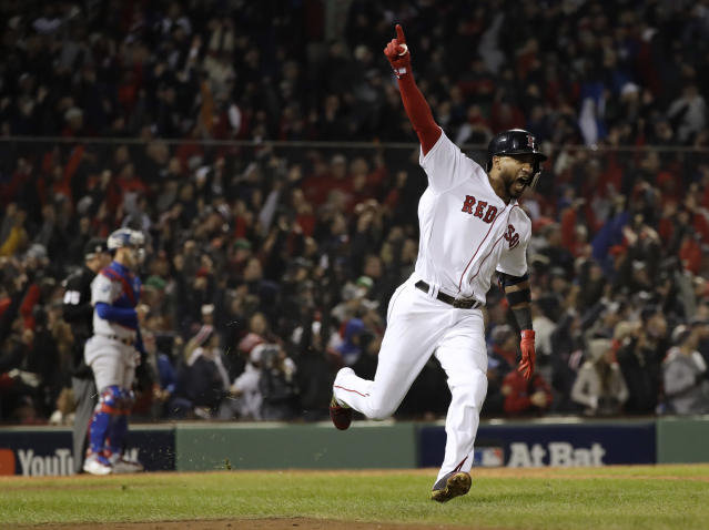 Eduardo Nunez reacts after hitting a three-run home run during the seventh inning of Game 1 of the World Series. (AP)