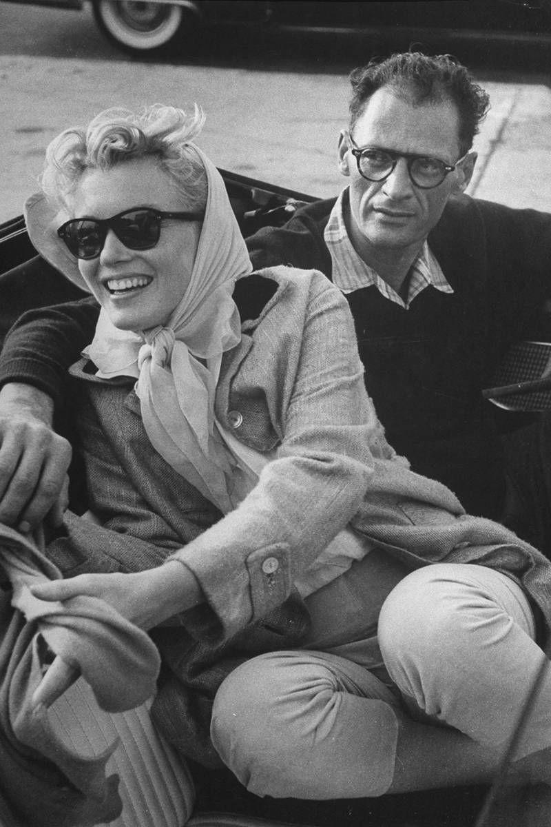 <p>Shortly after their marriage, Marilyn and Arthur sit in a Thunderbird convertible on their way to Connecticut with Monroe's close friend, American photographer Milton Greene. <br></p>