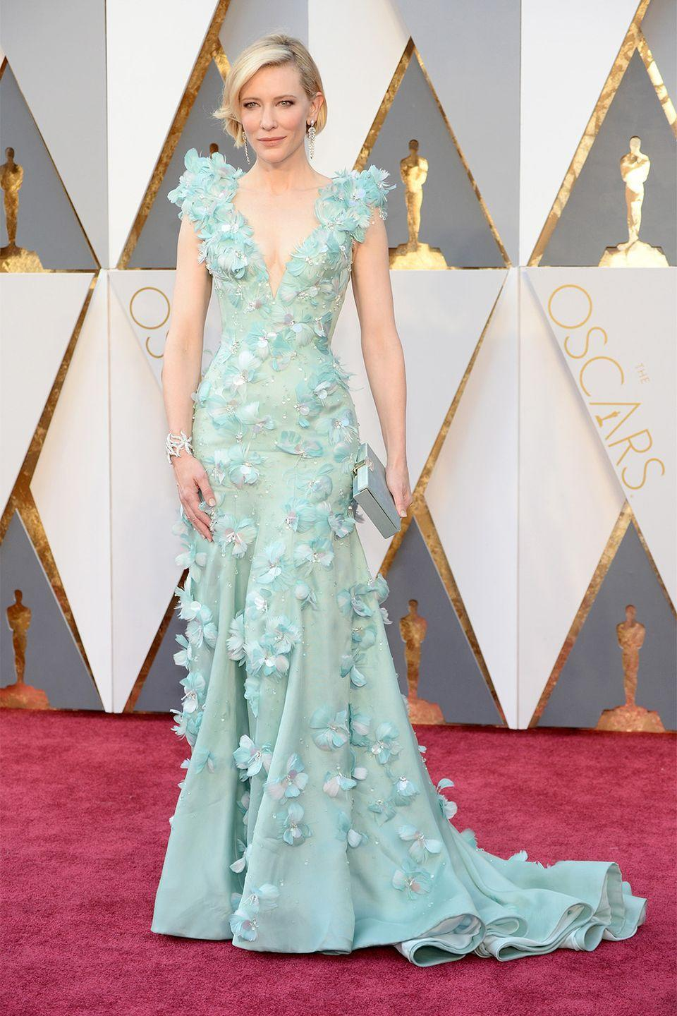 <p>Cate Blanchett is known for taking risks on the red carpet. Her 3-d floral Armani Prive gown was one to remember. </p>
