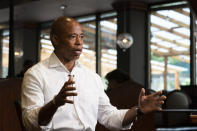 Eric Adams, the Democratic candidate for New York mayor, speaks during an interview at a Brooklyn diner, Wednesday, Aug. 4, 2021, in New York. (AP Photo/Mark Lennihan)