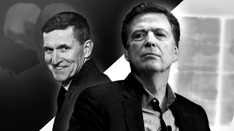 Michael Flynn, left, and James Comey, right.