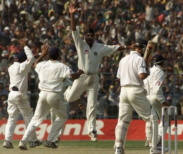 15 Mar 2001: Harbhajan Singh of India claims the wicket of Ricky Ponting of Australia, during day five of the 2nd Test between India and Australia played at Eden Gardens, Calcutta, India. India won by 171 runs X DIGITAL IMAGE Mandatory Credit: Hamish Blair/ALLSPORT