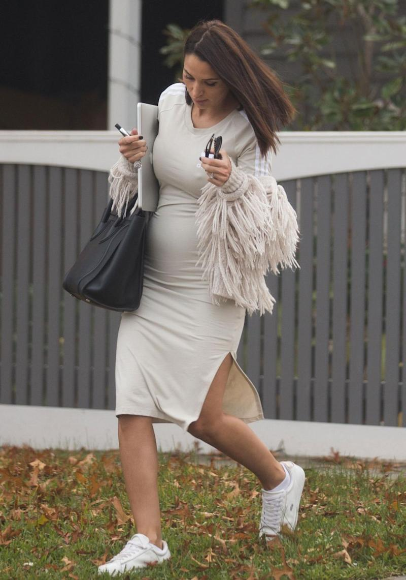 After having announced her pregnancy with beau Sam Wood over the weekend, The Bachelor's Snezana Markoski has been spotted with her baby bump in public for the first time. Source: Splash