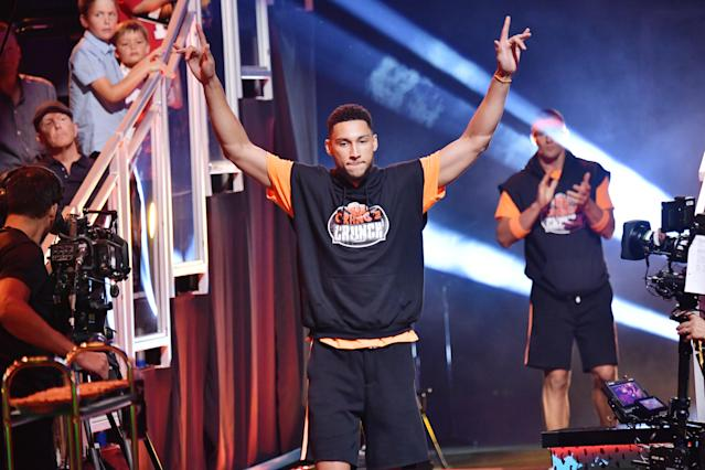 SANTA MONICA, CALIFORNIA - JULY 11: Ben Simmons participates in a challenge onstage during Nickelodeon Kids' Choice Sports 2019 at Barker Hangar on July 11, 2019 in Santa Monica, California. (Photo by Emma McIntyre/KCASports2019/Getty Images for Nickelodeon )