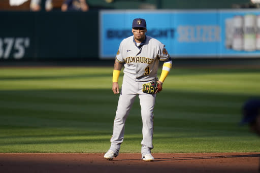 Milwaukee Brewers shortstop Orlando Arcia takes up his position during the third inning in the first game of a baseball doubleheader against the St. Louis Cardinals Friday, Sept. 25, 2020, in St. Louis. (AP Photo/Jeff Roberson)