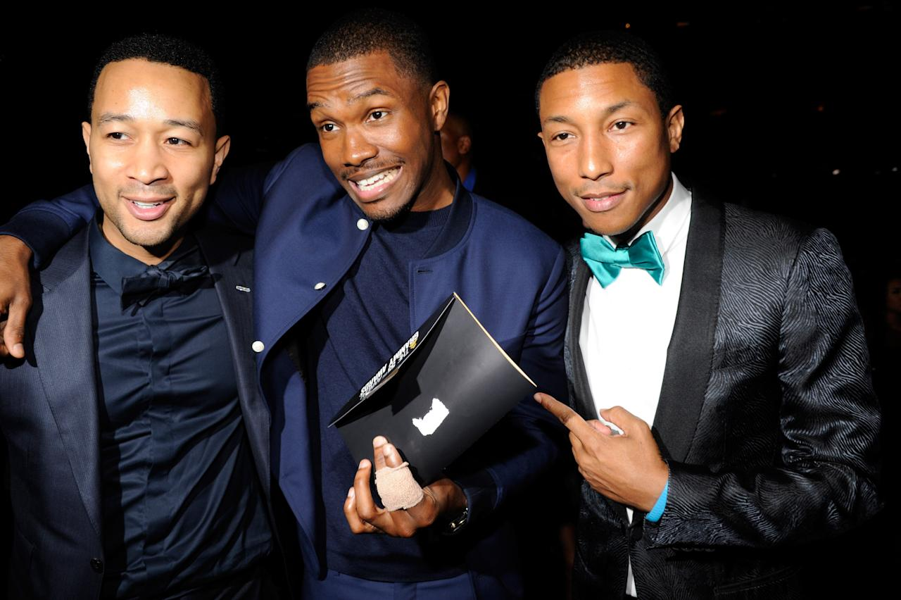 LOS ANGELES, CA - FEBRUARY 10:  John Legend, Frank Ocean and Pharrell Williams attend the 55th Annual GRAMMY Awards at STAPLES Center on February 10, 2013 in Los Angeles, California.  (Photo by Kevin Mazur/WireImage)