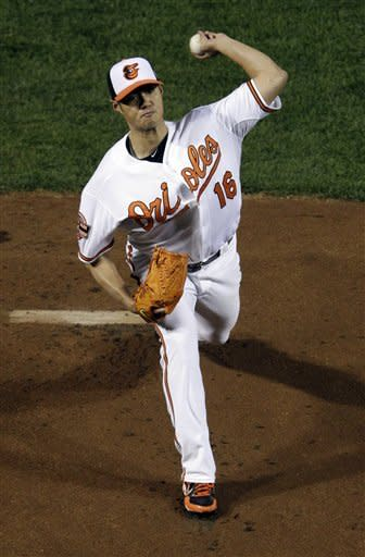 Baltimore Orioles starting pitcher Wei-Yin Chen, of Taiwan, throws to the New York Yankees in the first inning of Game 2 of the American League division baseball series on Monday, Oct. 8, 2012, in Baltimore. (AP Photo/Patrick Semansky)