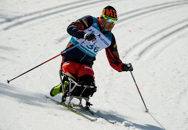 Stas Nazaryan ARM competes in the Cross-Country Skiing Sitting Men's 1.1km Sprint at the Alpensia Biathlon Centre. The Paralympic Winter Games, PyeongChang, South Korea, Wednesday 14th March 2018. OIS/IOC/Thomas Lovelock/Handout via REUTERS