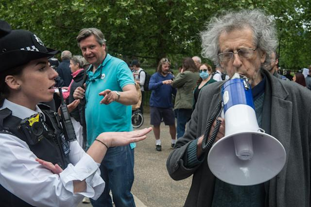 Around 50 people defied social distancing to gather at Speakers' Corner in Hyde Park (Picture: Getty)