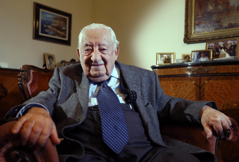 In this Wednesday, Nov. 27, 2013 photo, Oscar Findling, 91, who was brought to England by Kindertransport from Germany to escape Nazi persecution, sits at his home in London. The operation was called Kindertransport - Children's Transport - and it was a passage from hell to freedom. Kristallnacht had just rocked Nazi Germany. The pogroms killed dozens of Jews, burned hundreds of synagogues and imprisoned tens of thousands in concentration camps. Many historians see them as the start of Hitler's Final Solution. (AP Photo/Kirsty Wigglesworth)