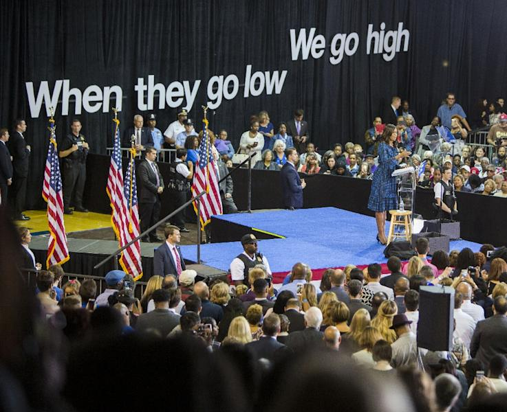 US first lady Michelle Obama campaigns for democratic presidential nominee Hillary Clinton on September 28, 2016 in Philadelphia, Pennsylvania (AFP Photo/Jessica Kourkounis)