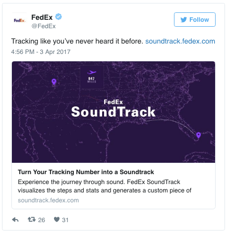SoundTrack allows you to score your package's shipping journey using its tracking number