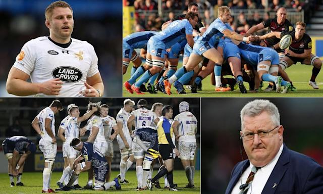 """<span class=""""element-image__caption"""">Clockwise from top left: Thomas Young, London Irish fall against Saracens, Exeter Chiefs celebrate against Sale and Quins coach John Kingston.</span> <span class=""""element-image__credit"""">Composite: PA, Getty Images, PPAUK/Rex/Shutterstock, Action Images</span>"""