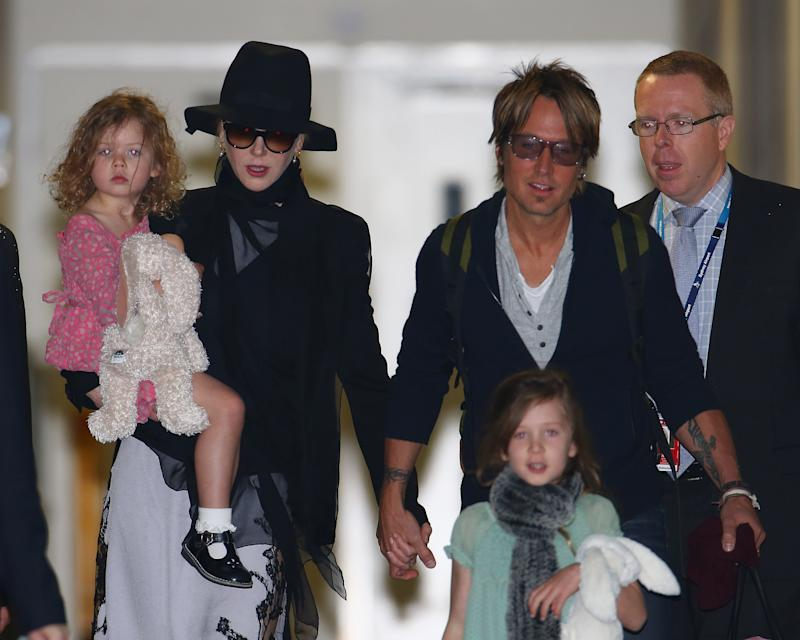Nicole Kidman is now married to singer Keith Urban and has two kids, Sunday Rose and Faith Margaret, seen here in 2014. Source: Getty
