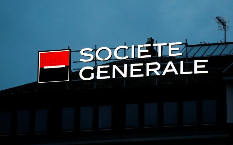 A logo of French bank Societe Generale is pictured on a building in Geneva
