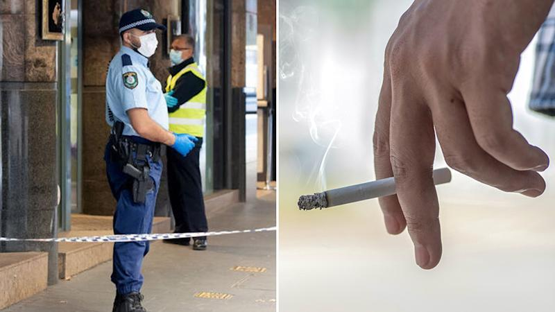 A man attempted to break out of hotel to have a cigarette, while completing his mandatory quarantine. Pictured left is a stock image of police outside a hotel. Source: Getty Images
