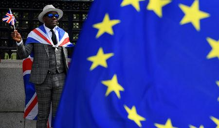 A pro-Brexit protester stands behind an EU flag ahead of the forthcoming EU elections, outside of the Houses of Parliament in London, Britain, May 22, 2019. REUTERS/Toby Melville