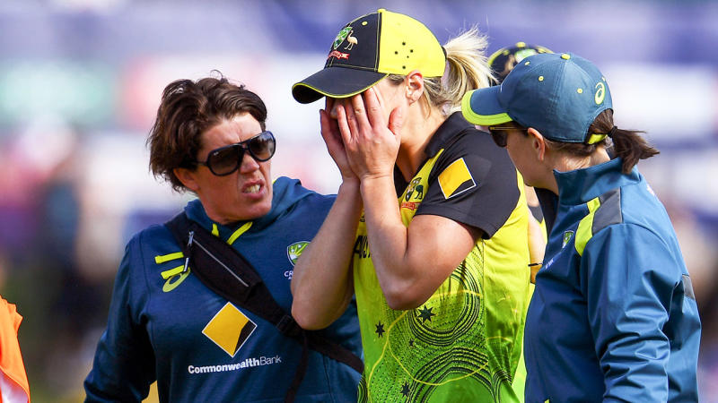 Ellyse Perry upset after a hamstring injury.
