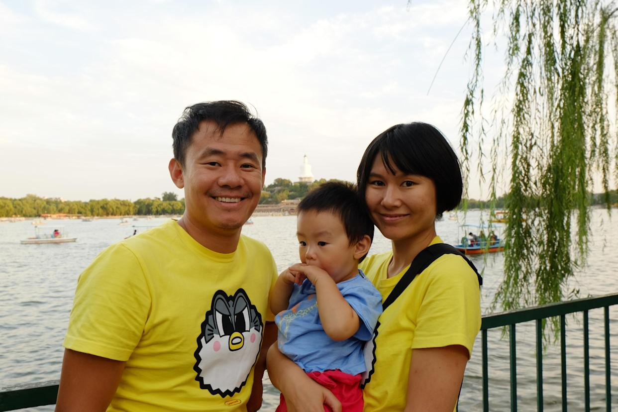 The family before Wang's imprisonment: Xiyue Wang, left, Shao Fan and Hua Qu. (Photo: courtesy Hua Qu)