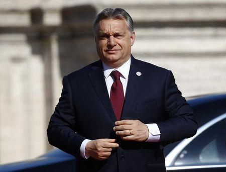 """Hungary's PM Orban arrives at the city hall """"Campidoglio"""" (Capitoline Hill) as EU leaders arrive for a meeting on the 60th anniversary of the Treaty of Rome, in Rome"""