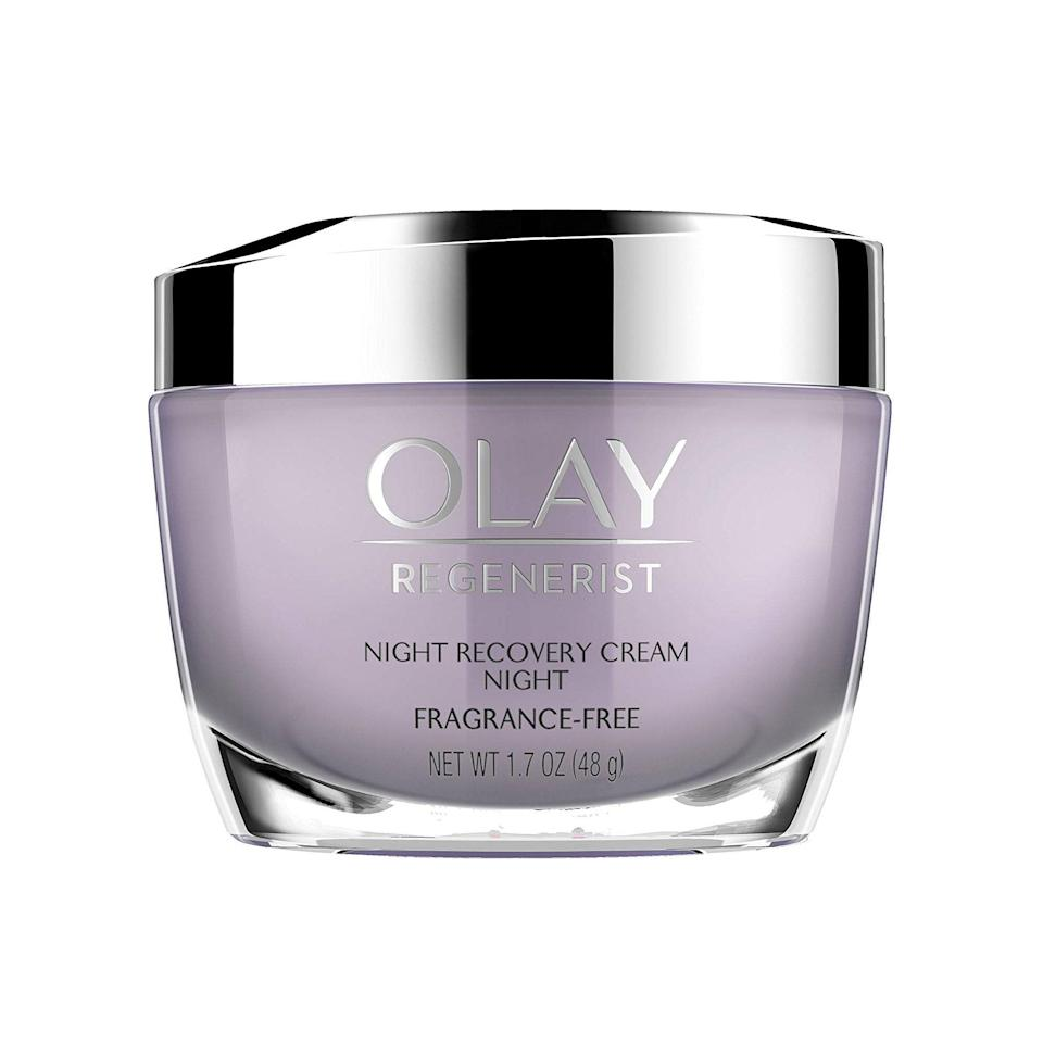 """<p>Don't let the drugstore price fool you — Olay's Regenerist Night Recovery Cream holds its own against the pricey stuff. """"The super-hydrating formula is packed with hydration and exfoliates to aid surface cell turnover, and its intense moisture hydrates throughout the night to reduce the appearance of fine lines and wrinkles,"""" Sobel says.</p> <p><strong>$33</strong> (<a href=""""https://www.amazon.com/Olay-Regenerist-Recovery-Anti-Aging-Moisturizer/dp/B01M4R7CC5"""" rel=""""nofollow noopener"""" target=""""_blank"""" data-ylk=""""slk:Shop Now"""" class=""""link rapid-noclick-resp"""">Shop Now</a>)</p>"""