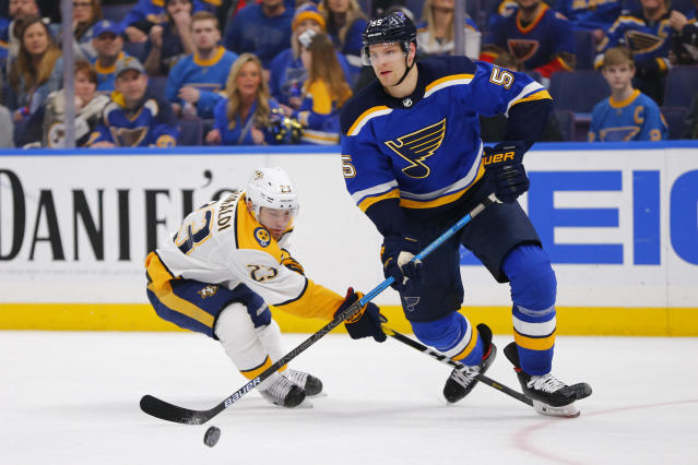 Nashville Predators' Rocco Grimaldi (23) attempts to steal the puck from St. Louis Blues' Colton Parayko (55) during the third period of an NHL hockey game Tuesday, Feb. 26, 2019, in St. Louis. (AP Photo/Dilip Vishwanat)