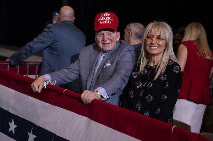 Businessman and Republican donor Sheldon Adelson waits for the arrival of President Donald Trump to a campaign rally at the Las Vegas Convention Center, Friday, Feb. 21, 2020, in Las Vegas. (AP Photo/Evan Vucci)