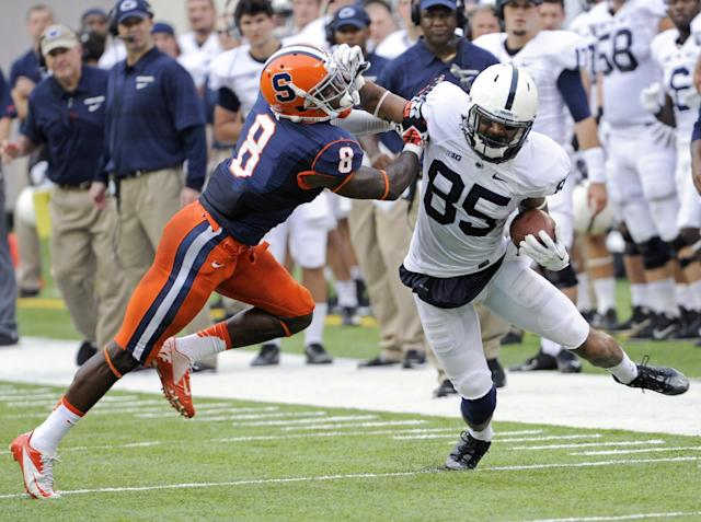 Syracuse cornerback Keon Lyn, left, attempts to stop Penn State wide receiver Brandon Felder during the second quarter of an NCAA college football game Saturday, Aug. 31, 2013, in East Rutherford, N.J. (AP Photo/Bill Kostroun)