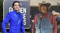 """Sacha Baron Cohen surprised the world when he revealed earlier this year that he had <a href=""""https://uk.movies.yahoo.com/sacha-baron-cohen-secretly-filmed-borat-2-085213812.html"""" data-ylk=""""slk:secretly made a Borat sequel;outcm:mb_qualified_link;_E:mb_qualified_link;ct:story;"""" class=""""link rapid-noclick-resp yahoo-link"""">secretly made a <em>Borat</em> sequel</a>. This time around, not only would the man of many faces become his famed Kazakh journalist, but he would also deploy other disguises to hide Borat from the world. The entire movie is a feast of transformations, in which Cohen becomes everything from a <a href=""""https://uk.movies.yahoo.com/sacha-baron-cohen-escape-borat-2-prank-114035319.html"""" data-ylk=""""slk:right-wing protest singer;outcm:mb_qualified_link;_E:mb_qualified_link;ct:story;"""" class=""""link rapid-noclick-resp yahoo-link"""">right-wing protest singer</a> in flannel shirt, cowboy hat and overalls to President Donald Trump himself. (Credit: George Pimentel/WireImage/Amazon)"""
