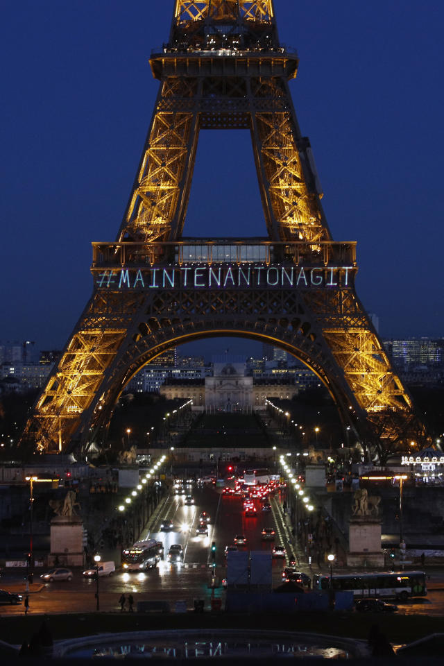 "<p>The powerful message ""Maintenant On Agit"" (""Now We Act"") is projected on the Eiffel Tower on the eve of International Women's Day to honor women's rights and promote the French equivalent of the #TimesUp movement in Paris, Wednesday, March 7, 2018. Launched by the Foundation of Women, the movement aims to raise funds for associations helping women pursue cases in court ""so that no woman ever again has to say #MeToo."" (Photo: Francois Mori/AP) </p>"