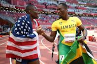 Jamaica's Hansle Parchment stunned hot favourite Grant Holloway of the USA in the 110m hurdles final