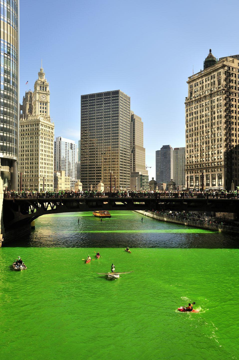 <p>Most famously, the Chicago River is dyed green every year for St. Patrick's Day. But there are other emerald landmarks you can see, like the Empire State Building, Irish Parliament building, and Sydney Opera house, which are all lit up green. Even Niagara Falls gets doused for a verdant glow.</p>