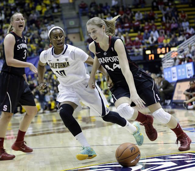 Stanford guard Karlie Samuelson (44) dribbles past California guard Mercedes Jefflo (10) during the first half on an NCAA college basketball game, Sunday, Feb. 2, 2014, in Berkeley, Calif. (AP Photo/Marcio Jose Sanchez)