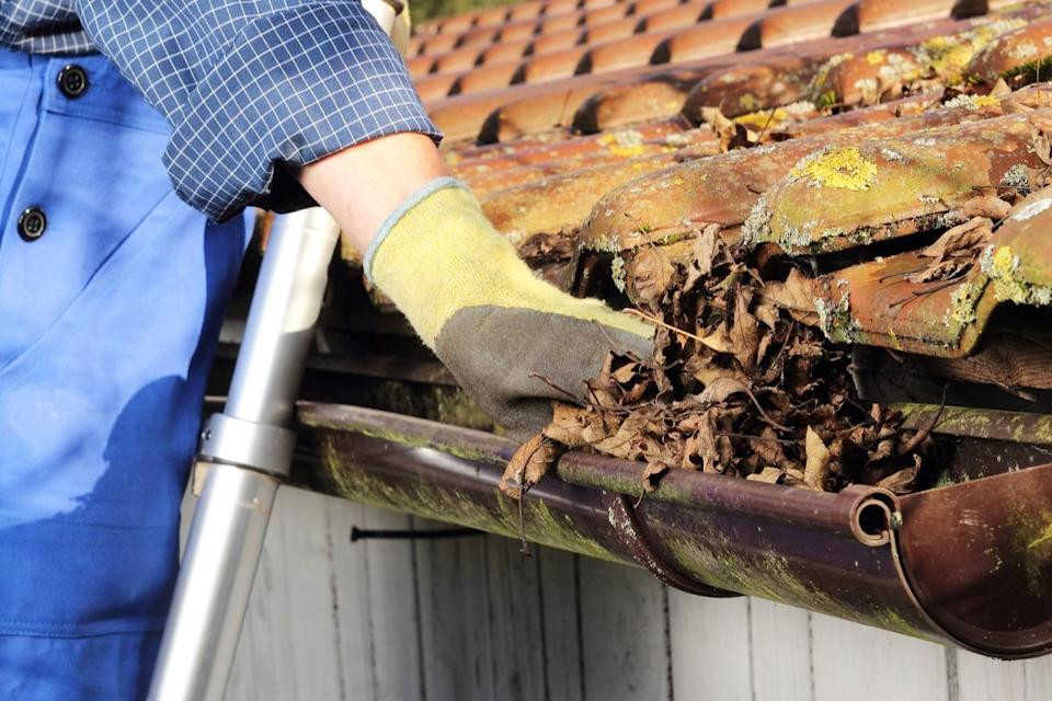 """A few leaves in your gutters may seem like no big deal, but they can lead to quite a lot of issues over time. """"Clogged gutters cause rain water to stream down your exterior walls, seeping into cracks and leading to water infiltration of the interior walls of your home, causing drywall damage, and toxic mold growth,"""" explains Philadelphia-based realtor <a href=""""http://jimarmstrongrealtor.com"""" rel=""""nofollow noopener"""" target=""""_blank"""" data-ylk=""""slk:Jim Armstrong"""" class=""""link rapid-noclick-resp""""><strong>Jim Armstrong</strong></a>. To make sure your gutters are in good shape, have them cleaned at least twice a year, he says."""