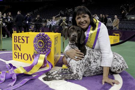 FILE PHOTO: Handler Valerie Nunez Atkinson poses with CJ, a German Shorthaired Pointer from the Sporting Group, after they won Best in Show at the Westminster Kennel Club Dog show at Madison Square Garden in New York, U.S., February 16, 2016.  REUTERS/Brendan McDermid/File Photo