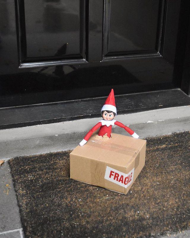 """<p>Let your kids know they've got a special delivery at your doorstep...then tell your Elf to get in place and prepare for all the giggles.</p><p><a class=""""link rapid-noclick-resp"""" href=""""https://go.redirectingat.com?id=74968X1596630&url=https%3A%2F%2Fwww.walmart.com%2Fsearch%2F%3Fquery%3Delf%2Bon%2Bthe%2Bshelf&sref=https%3A%2F%2Fwww.thepioneerwoman.com%2Fholidays-celebrations%2Fg34080491%2Ffunny-elf-on-the-shelf-ideas%2F"""" rel=""""nofollow noopener"""" target=""""_blank"""" data-ylk=""""slk:SHOP ELF ON THE SHELF""""><strong>SHOP ELF ON THE SHELF</strong></a></p><p><a href=""""https://www.instagram.com/p/BcIbfxclrxl/"""" rel=""""nofollow noopener"""" target=""""_blank"""" data-ylk=""""slk:See the original post on Instagram"""" class=""""link rapid-noclick-resp"""">See the original post on Instagram</a></p>"""