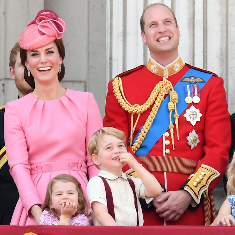 The Duke and Duchess of Cambridge watch the Trooping the Colour parade last month with their children - Credit: Karwai Tang/Wireimage