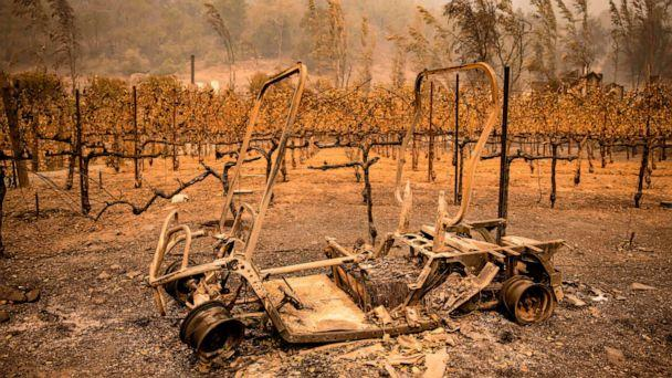 PHOTO: The remains of a golf cart burned by the Glass Fire sits next to a vineyard at Calistoga Ranch in Calistoga, Napa Valley, Calif., Sept. 30, 2020. (Samuel Corum/AFP via Getty Images)