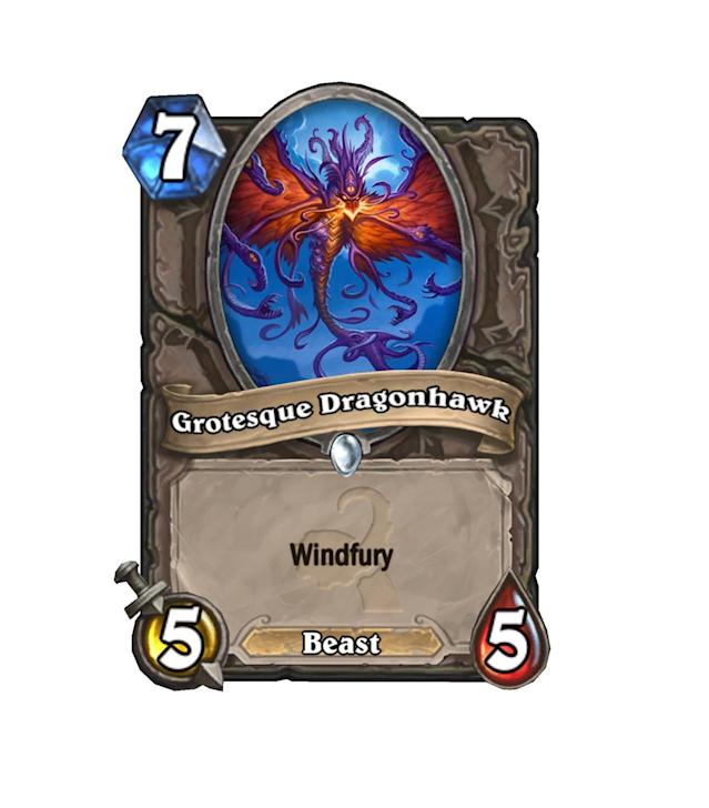 <p>Arguably the best common Arena bomb in Whispers, Grotesque Dragonhawk will be doing some serious work if it's able to live for a turn.</p>