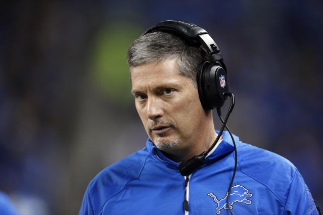 Detroit Lions head coach Jim Schwartz walks the sidelines against the New York Giants during the second half of an NFL football game in Detroit, Sunday, Dec. 22, 2013. (AP Photo/Paul Sancya)
