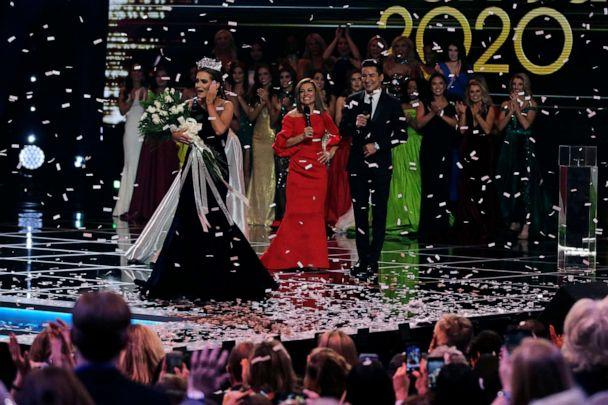 PHOTO: Camille Schrier, of Virginia, left, reacts after winning the Miss America competition at the Mohegan Sun casino in Uncasville, Conn., Thursday, Dec. 19, 2019. (Charles Krupa/AP)
