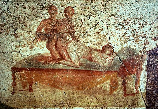 A restored erotica fresco is seen in the newly restored public bath in the ancient Roman city of Pompeii November 14, 2001.  (Reuters Photographer / Reuters)