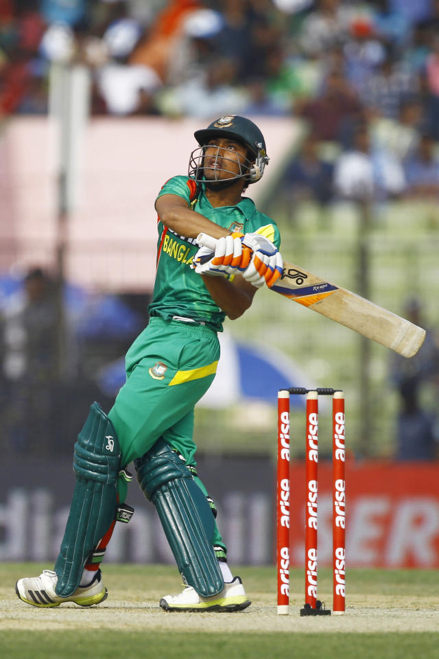 Bangladeshi Anamul Haque plays a shot during the Asia Cup one-day international cricket tournament against India in Fatullah, near Dhaka, Bangladesh, Wednesday, Feb. 26, 2014. (AP Photo/A.M. Ahad)